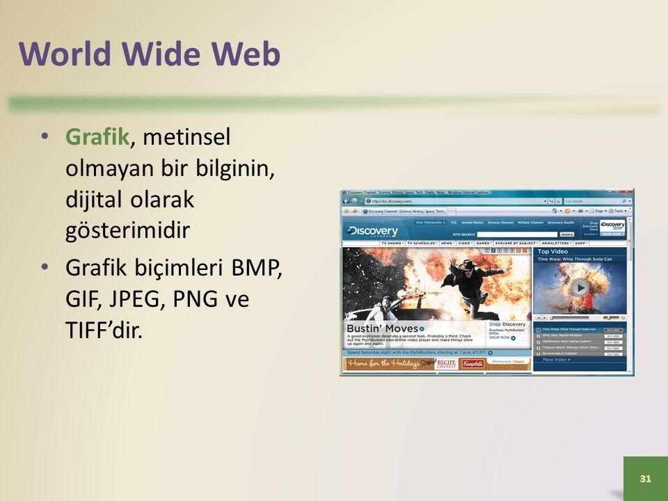 World Wide Web Grafik, metinsel olmayan bir bilginin, dijital olarak gösterimidir Grafik biçimleri BMP, GIF, JPEG, PNG ve TIFF'dir.