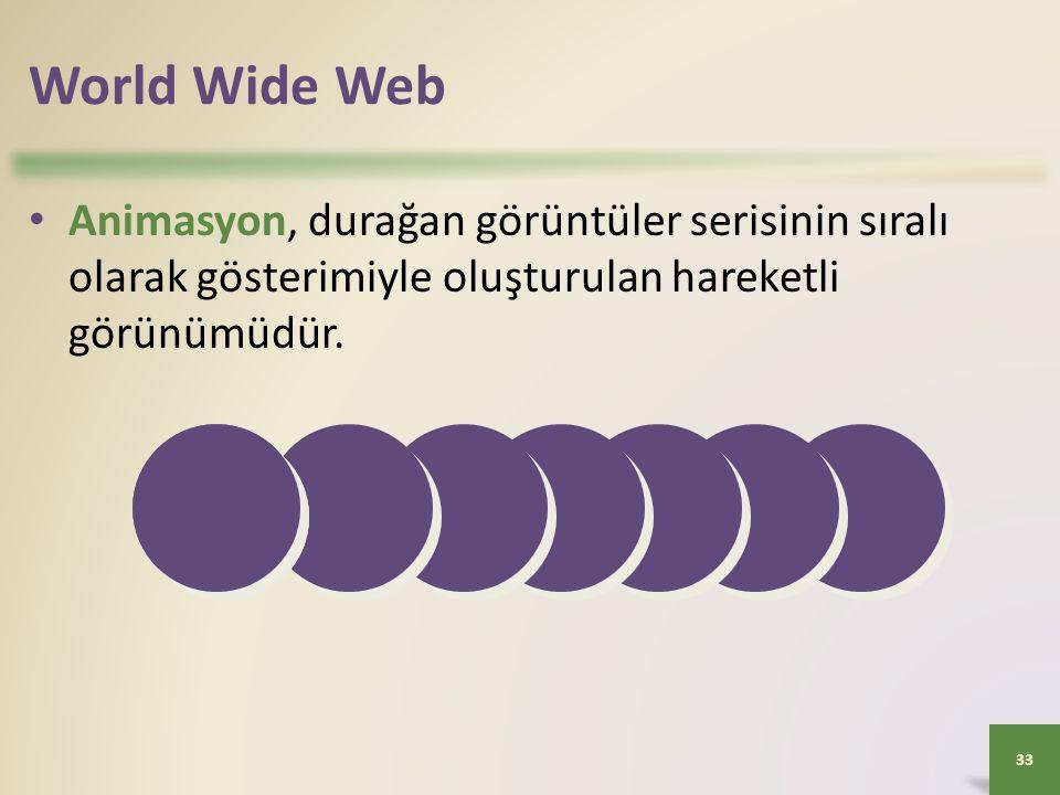 World Wide Web Animasyon, durağan görüntüler serisinin sıralı olarak gösterimiyle oluşturulan hareketli görünümüdür.