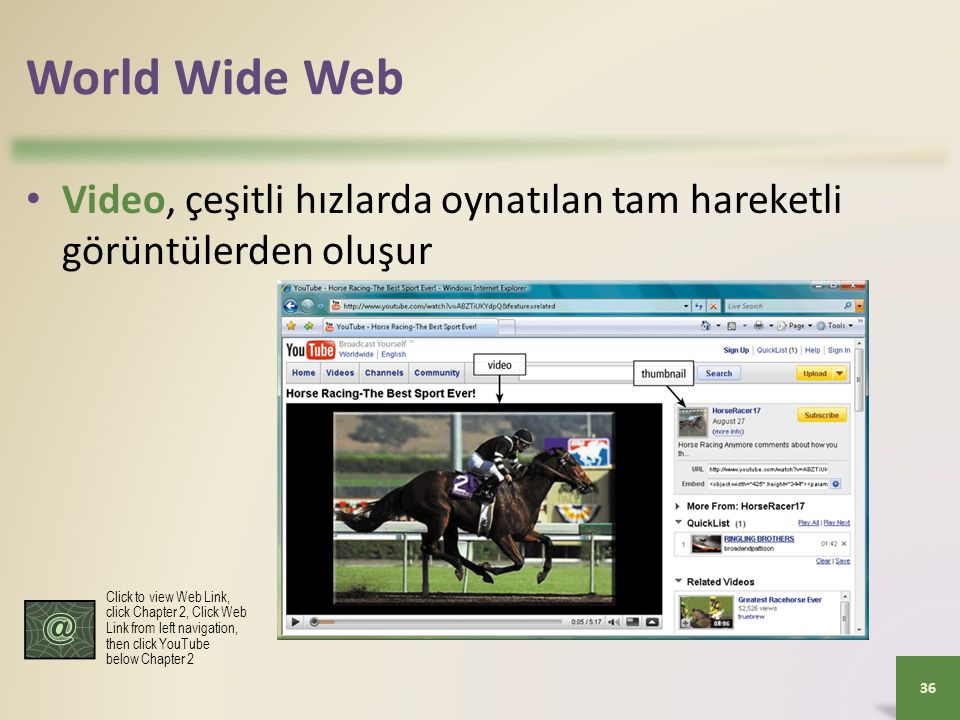 World Wide Web Video, çeşitli hızlarda oynatılan tam hareketli görüntülerden oluşur 36 Click to view Web Link, click Chapter 2, Click Web Link from left navigation, then click YouTube below Chapter 2