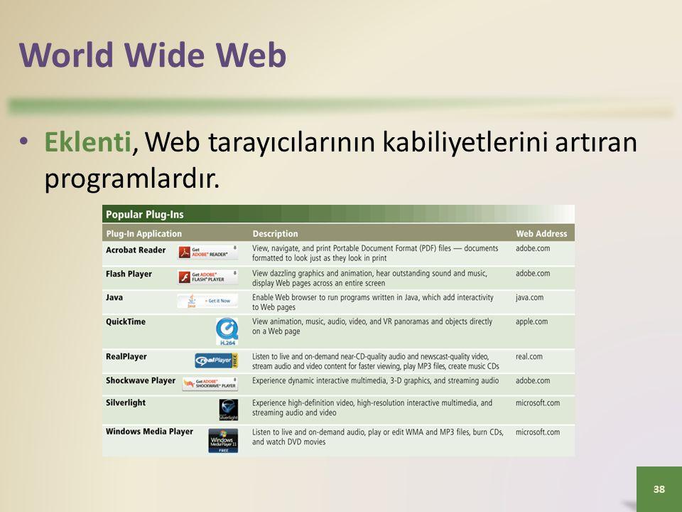 World Wide Web Eklenti, Web tarayıcılarının kabiliyetlerini artıran programlardır. 38