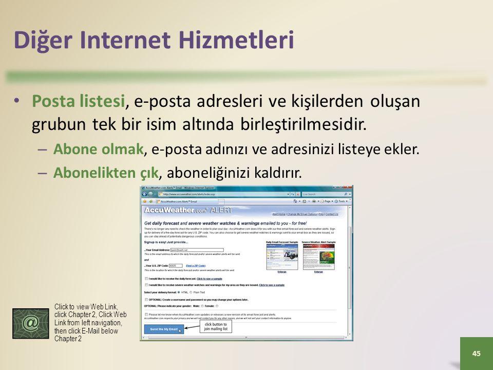 Diğer Internet Hizmetleri Posta listesi, e-posta adresleri ve kişilerden oluşan grubun tek bir isim altında birleştirilmesidir.