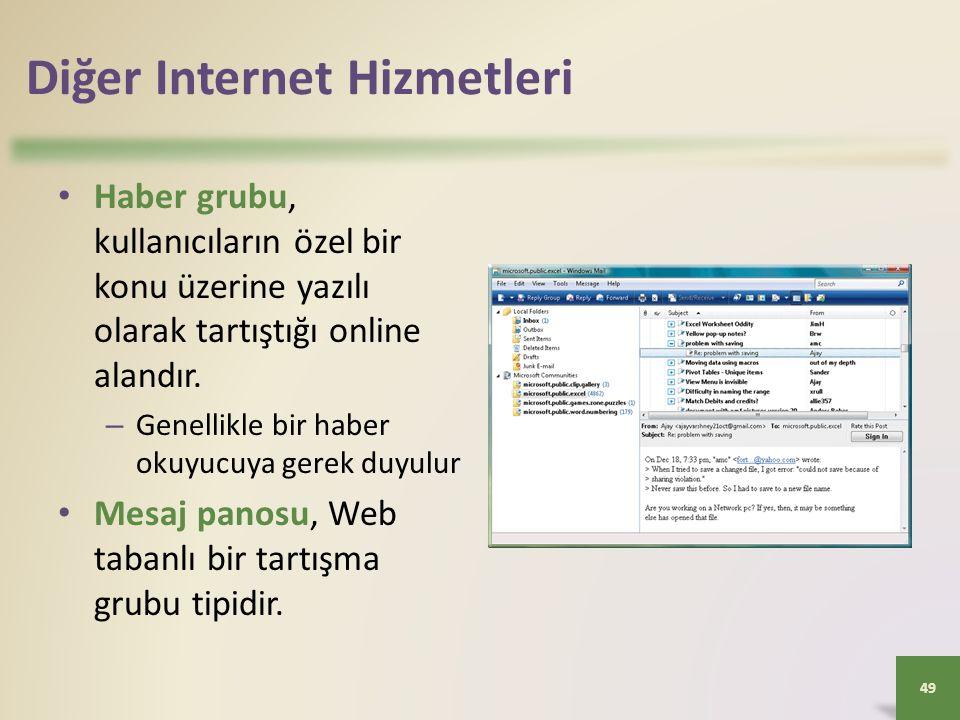 Diğer Internet Hizmetleri Haber grubu, kullanıcıların özel bir konu üzerine yazılı olarak tartıştığı online alandır.