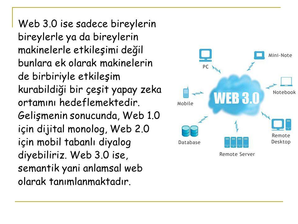 Web 3.0 ise sadece bireylerin bireylerle ya da bireylerin makinelerle etkileşimi değil bunlara ek olarak makinelerin de birbiriyle etkileşim kurabildiği bir çeşit yapay zeka ortamını hedeflemektedir.