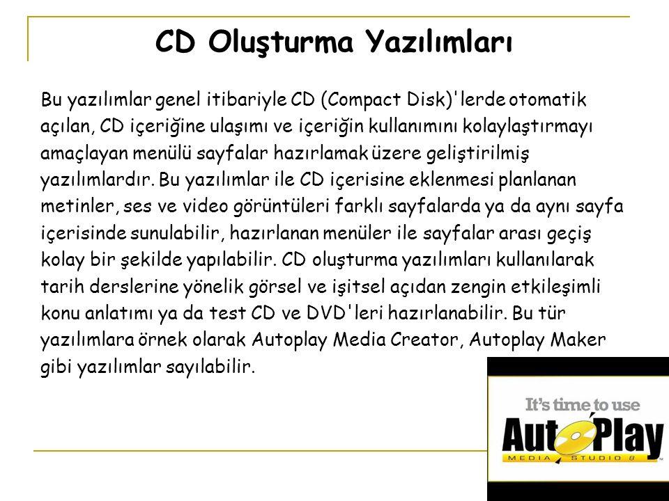 CD Oluşturma Yazılımları Bu yazılımlar genel itibariyle CD (Compact Disk) lerde otomatik açılan, CD içeriğine ulaşımı ve içeriğin kullanımını kolaylaştırmayı amaçlayan menülü sayfalar hazırlamak üzere geliştirilmiş yazılımlardır.