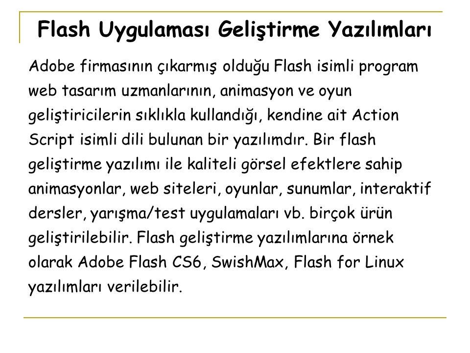 Flash Uygulaması Geliştirme Yazılımları Adobe firmasının çıkarmış olduğu Flash isimli program web tasarım uzmanlarının, animasyon ve oyun geliştiricilerin sıklıkla kullandığı, kendine ait Action Script isimli dili bulunan bir yazılımdır.