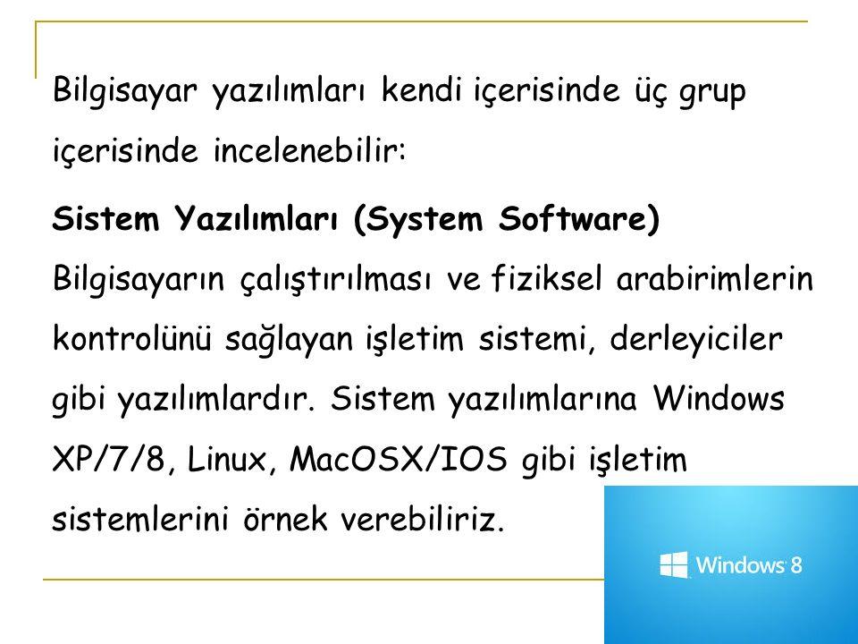 Bilgisayar yazılımları kendi içerisinde üç grup içerisinde incelenebilir: Sistem Yazılımları (System Software) Bilgisayarın çalıştırılması ve fiziksel arabirimlerin kontrolünü sağlayan işletim sistemi, derleyiciler gibi yazılımlardır.