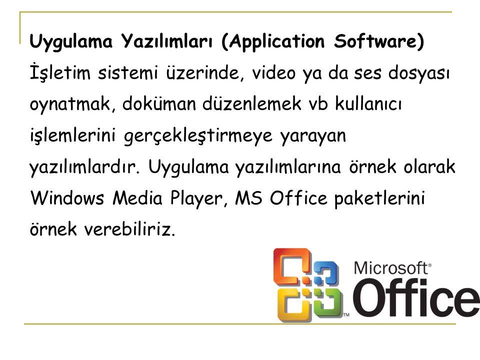 Uygulama Yazılımları (Application Software) İşletim sistemi üzerinde, video ya da ses dosyası oynatmak, doküman düzenlemek vb kullanıcı işlemlerini gerçekleştirmeye yarayan yazılımlardır.