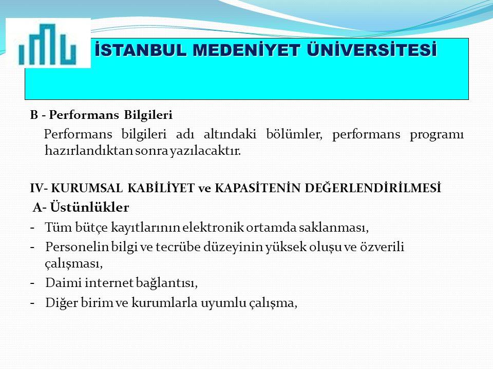 İSTANBUL MEDENİYET ÜNİVERSİTESİ B - Performans Bilgileri Performans bilgileri adı altındaki bölümler, performans programı hazırlandıktan sonra yazılacaktır.