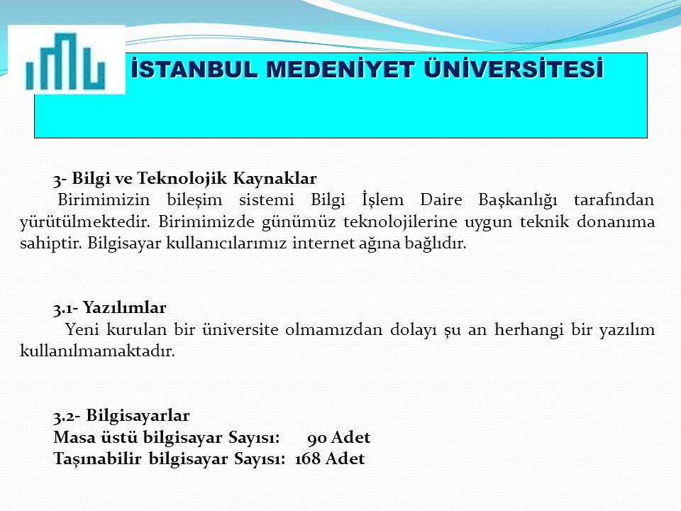 İSTANBUL MEDENİYET ÜNİVERSİTESİ 3- Bilgi ve Teknolojik Kaynaklar Birimimizin bileşim sistemi Bilgi İşlem Daire Başkanlığı tarafından yürütülmektedir.