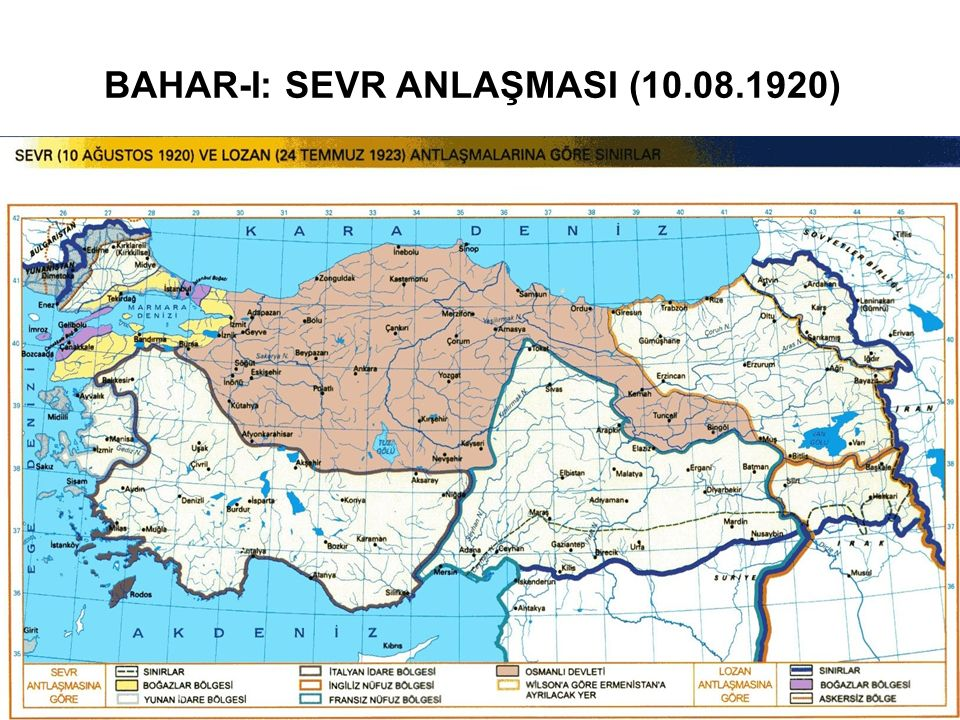 BAHAR-II: MİLLÎ MÜCADELE Millî Mücadelenin Cepheleri Ermeni meselesi ve Doğu Cephesi Doğu Cephesi Komutanı, Kazım Karabekir Paşa'nın harekatı (28 Eylül 1920) Gümrü Anlaşması (02.12.1920) Batum meselesi, Moskova Anlaşması ile Gürcistan'a bırakıldı Moskova anlaşması (16.03.1921) Güney Cephesi İngiliz-Fransız taksim anlaşması (15 Eylül 1919) Maraş  Sütçü İmam ve Cuma meselesi (29.10.1919 işgal, 12.02.1920 terk) Urfa  Jandarma Komutanı Ali Saip Bey (30.10.1919 işgal, 11.04.1920 terk) Antep  Şahin Bey ve Kılıç Ali Bey (28.03.1920 çatışmalar başlıyor, 8.02.1921'de işgal ediliyor, 25.12.1921 terk) Hatay Dörtyol'da 19.12.1918'de başlayan çarpışmalar, Çukurova'nın işgaliyle burada da devam etmiş ve 1920 yılına kadar sürmüştür.