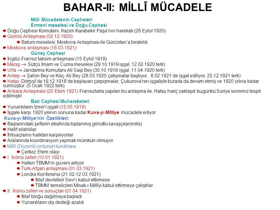 BAHAR-II: MİLLÎ MÜCADELE Batı Cephesi Muharebeleri Sakarya Savaşı (23.08-13.09.1921) Yeni Yunan Taarruzu ve Kütahya-Eskişehir Muharebeleri 40 000 kayıp verdik ve Sakarya doğusuna çekildik (25.07.1921) TBMM'de bunalım M.