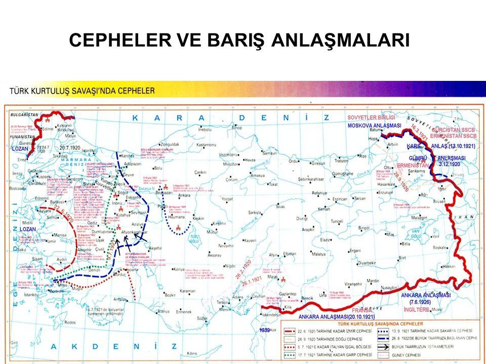 BAHAR-III: MİLLÎ MÜCADELE Mudanya Mütarekesi (11.10.1922) Mudanya ile Kurtuluş savaşı bitti Doğu Trakya savaş yapmadan geri alındı Saltanatın kaldırılması (01.11.1922) Vahdettin ülkeyi terk etti (17.11.1922) Abdülmecit halife seçildi (18.11.1922) Lozan Anlaşması ilk görüşmeler (20.11.1922-04.02.1923) ikinci görüşmeler (23.04.1923-24.07.1923) Tartışmalar: Toprak meseleleri: Batı-Doğu Trakya, Musul Boğazlar Azınlıklar Kapitülasyonlar Sınırlar Lozan Antlaşmasının Sonuçları: Güneyde Suriye Ankara anlaşması Irak sonraya bırakıldı Batıda bugünkü sınırlar (Meriç ırmağı) Kapitülasyonlar tümüyle kaldırıldı Azınlıkların bir kısmı mübadele edildi Azınlık olarak Gayr-i Müslimler kabul edildi ve evrensel haklar verildi Savaş tazminatı olarak Yunanistan Karaağaç'ı Türkiye'ye vermiştir Osmanlı Devleti'nin borçları Osmanlı toprakları üzeride kurulan devletler arasında bölüştürülmüş, Türkiye kendi hissesine düşen borçlarını 1954 yılına kadar ödemiştir Boğazlar Türkiye'ye bırakılacak, başkanı Türk olan bir komisyon tarafından idare edilecek ve silahsızlandırılacak, geçiş serbest olacak Lozan'da halledilemeyen meseleler: Musul (05.06.1926 Ankara anlaşması) Hatay (1939'da) Boğazlar (1936'da Montrö sözleşmesi ile)