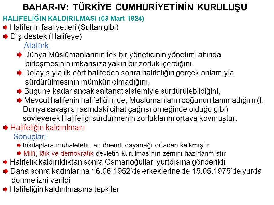 BAHAR-XIV: TÜRKİYE CUMHURİYETİNİN DIŞ POLİTİKASI Atatürk Sonrası Türkiye'nin Dış Politikası II.