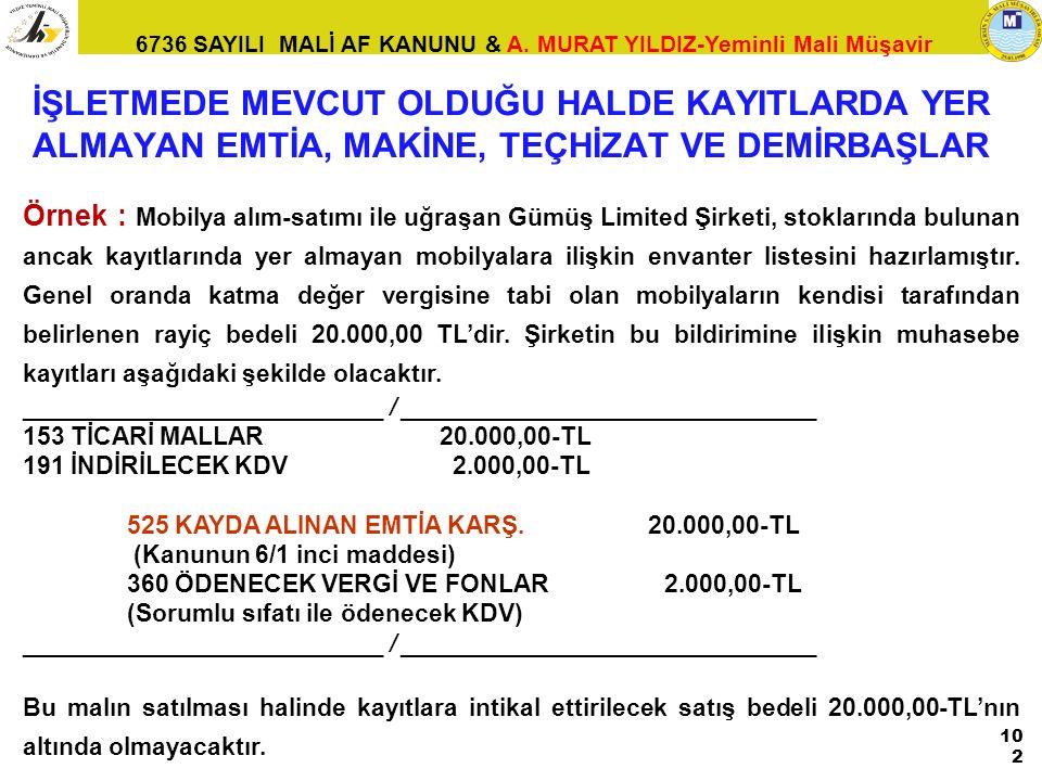 6736 SAYILI MALİ AF KANUNU & A. MURAT YILDIZ-Yeminli Mali Müşavir Örnek : Mobilya alım-satımı ile uğraşan Gümüş Limited Şirketi, stoklarında bulunan a
