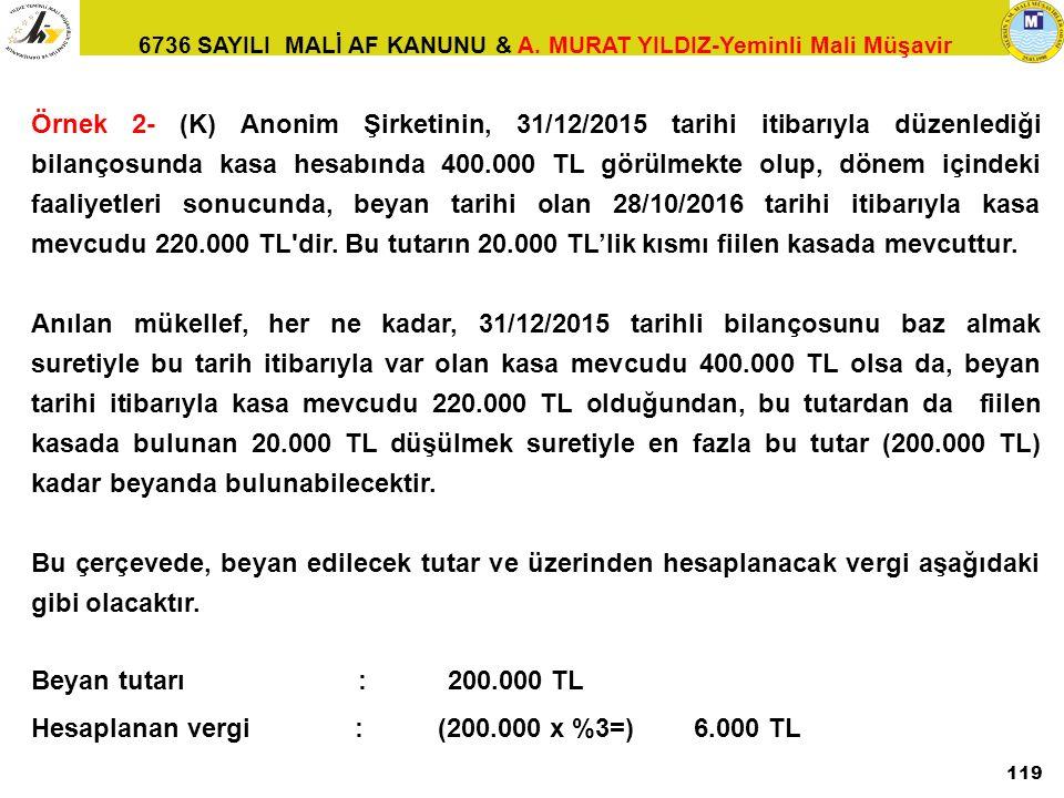 6736 SAYILI MALİ AF KANUNU & A. MURAT YILDIZ-Yeminli Mali Müşavir 119 Örnek 2- (K) Anonim Şirketinin, 31/12/2015 tarihi itibarıyla düzenlediği bilanço