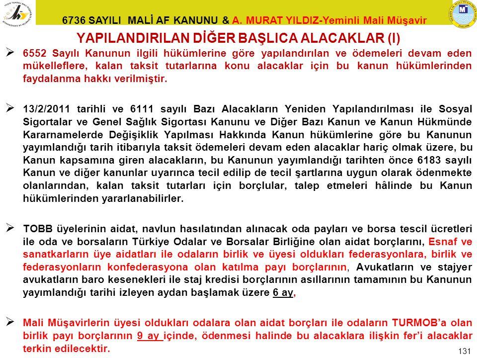 6736 SAYILI MALİ AF KANUNU & A. MURAT YILDIZ-Yeminli Mali Müşavir YAPILANDIRILAN DİĞER BAŞLICA ALACAKLAR (I)  6552 Sayılı Kanunun ilgili hükümlerine
