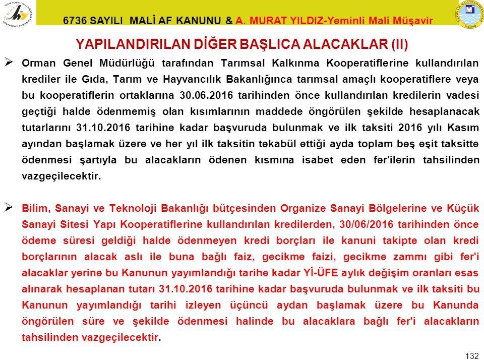 6736 SAYILI MALİ AF KANUNU & A. MURAT YILDIZ-Yeminli Mali Müşavir YAPILANDIRILAN DİĞER BAŞLICA ALACAKLAR (II)  Orman Genel Müdürlüğü tarafından Tarım