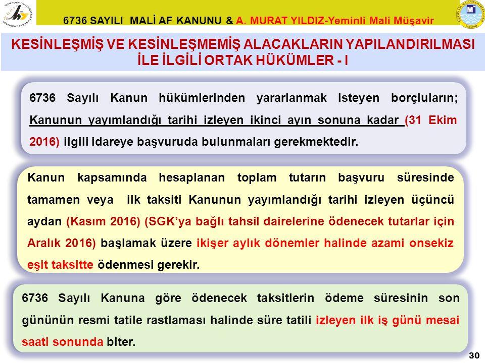 6736 SAYILI MALİ AF KANUNU & A. MURAT YILDIZ-Yeminli Mali Müşavir 6736 Sayılı Kanun hükümlerinden yararlanmak isteyen borçluların; Kanunun yayımlandığ