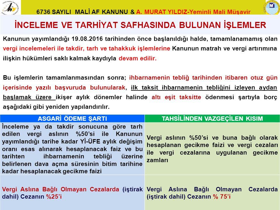 6736 SAYILI MALİ AF KANUNU & A. MURAT YILDIZ-Yeminli Mali Müşavir Kanunun yayımlandığı 19.08.2016 tarihinden önce başlanıldığı halde, tamamlanamamış o