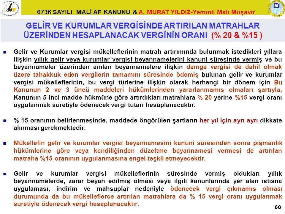 6736 SAYILI MALİ AF KANUNU & A. MURAT YILDIZ-Yeminli Mali Müşavir Gelir ve Kurumlar vergisi mükelleflerinin matrah artırımında bulunmak istedikleri yı