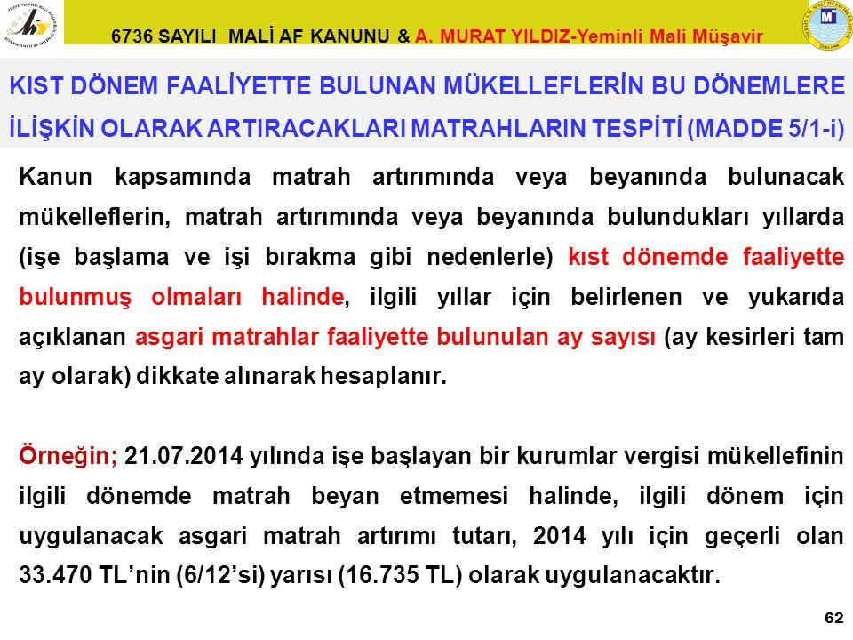 6736 SAYILI MALİ AF KANUNU & A. MURAT YILDIZ-Yeminli Mali Müşavir Kanun kapsamında matrah artırımında veya beyanında bulunacak mükelleflerin, matrah a