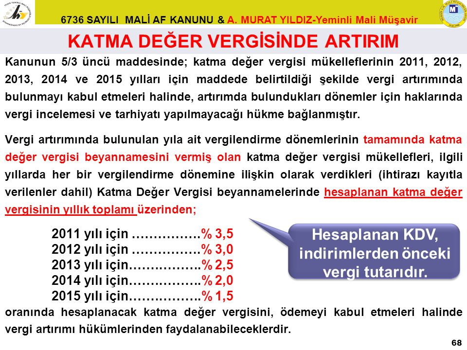 6736 SAYILI MALİ AF KANUNU & A. MURAT YILDIZ-Yeminli Mali Müşavir KATMA DEĞER VERGİSİNDE ARTIRIM Kanunun 5/3 üncü maddesinde; katma değer vergisi müke