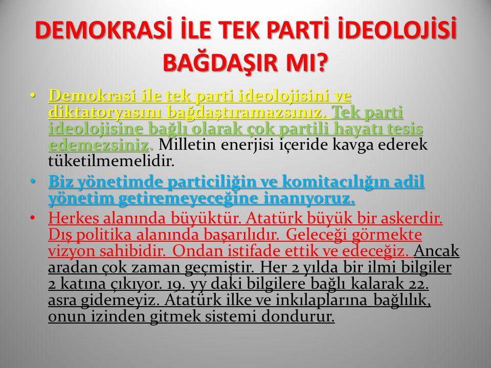 DEMOKRASİ İLE TEK PARTİ İDEOLOJİSİ BAĞDAŞIR MI.