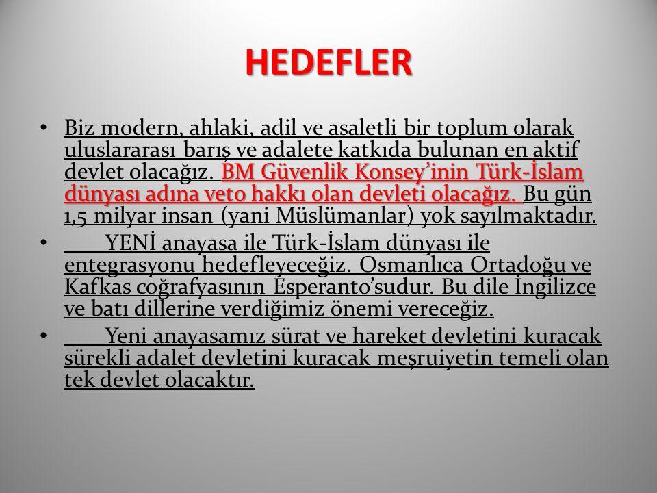 HEDEFLER BM Güvenlik Konsey'inin Türk-İslam dünyası adına veto hakkı olan devleti olacağız.