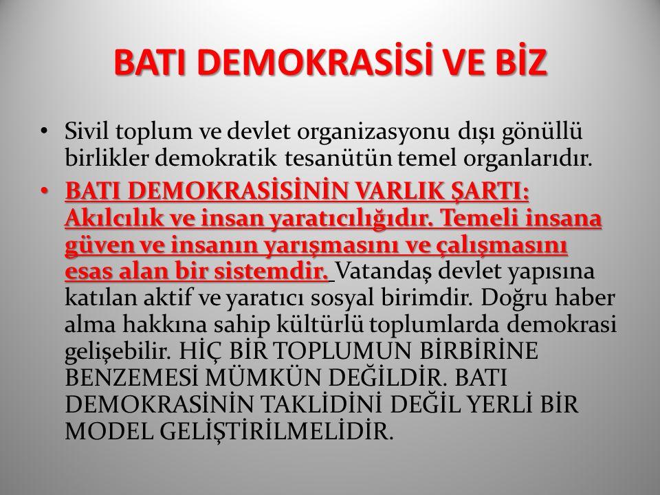 BATI DEMOKRASİSİ VE BİZ Sivil toplum ve devlet organizasyonu dışı gönüllü birlikler demokratik tesanütün temel organlarıdır.