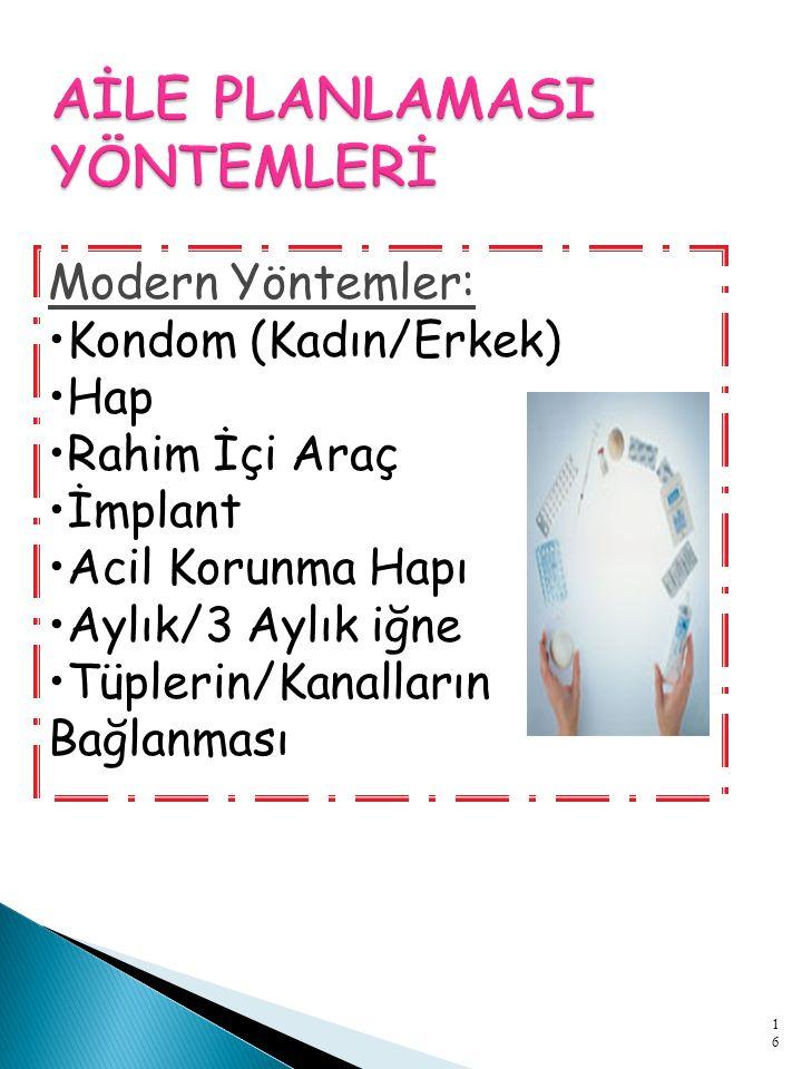 Modern Yöntemler: Kondom (Kadın/Erkek) Hap Rahim İçi Araç İmplant Acil Korunma Hapı Aylık/3 Aylık iğne Tüplerin/Kanalların Bağlanması 16