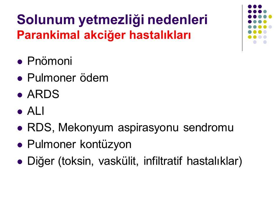 Solunum yetmezliği nedenleri Parankimal akciğer hastalıkları Pnömoni Pulmoner ödem ARDS ALI RDS, Mekonyum aspirasyonu sendromu Pulmoner kontüzyon Diğe