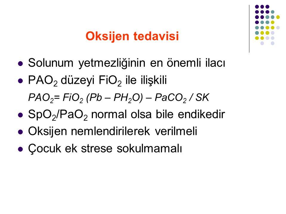Oksijen tedavisi Solunum yetmezliğinin en önemli ilacı PAO 2 düzeyi FiO 2 ile ilişkili PAO 2 = FiO 2 (Pb – PH 2 O) – PaCO 2 / SK SpO 2 /PaO 2 normal o