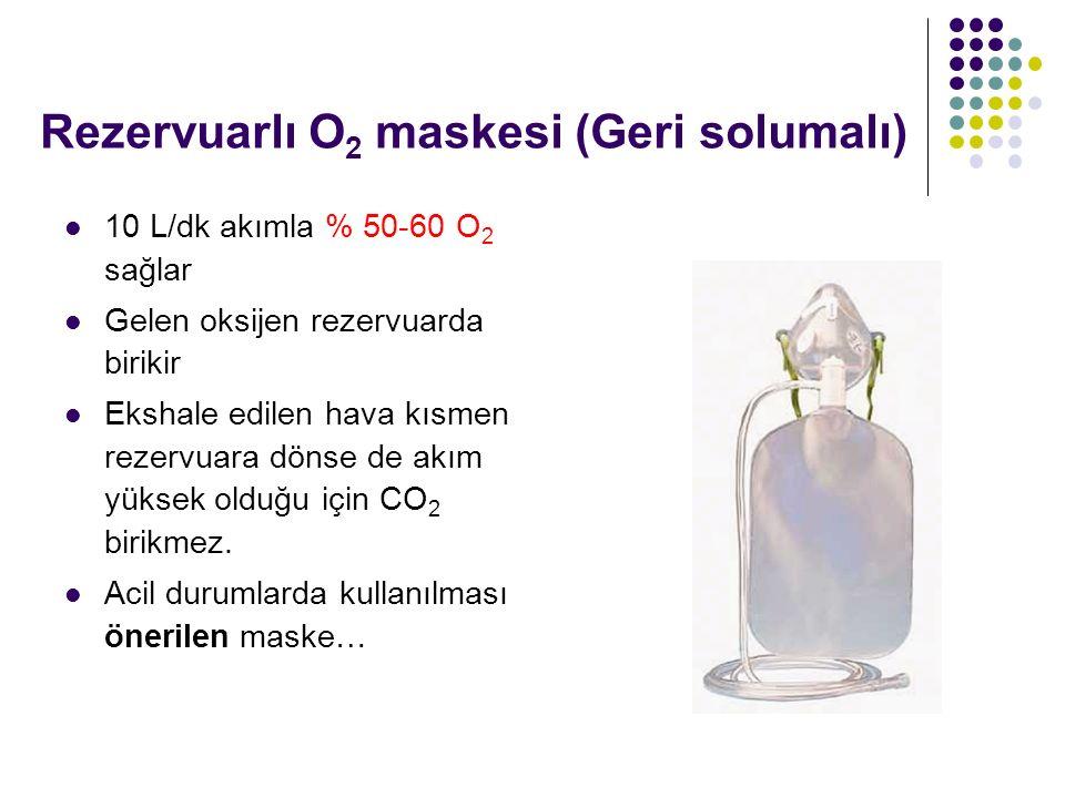 Rezervuarlı O 2 maskesi (Geri solumalı) 10 L/dk akımla % 50-60 O 2 sağlar Gelen oksijen rezervuarda birikir Ekshale edilen hava kısmen rezervuara döns