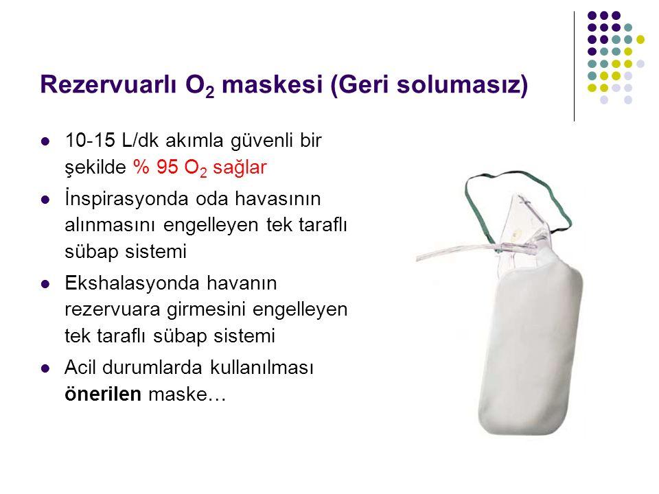 Rezervuarlı O 2 maskesi (Geri solumasız) 10-15 L/dk akımla güvenli bir şekilde % 95 O 2 sağlar İnspirasyonda oda havasının alınmasını engelleyen tek t