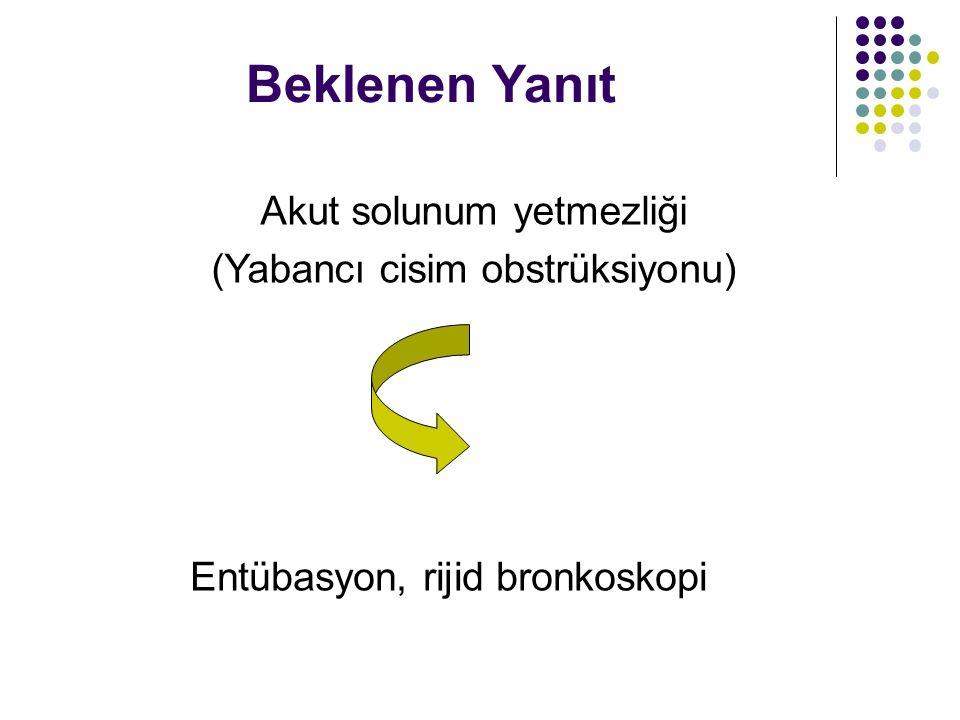 Beklenen Yanıt Akut solunum yetmezliği (Yabancı cisim obstrüksiyonu) Entübasyon, rijid bronkoskopi
