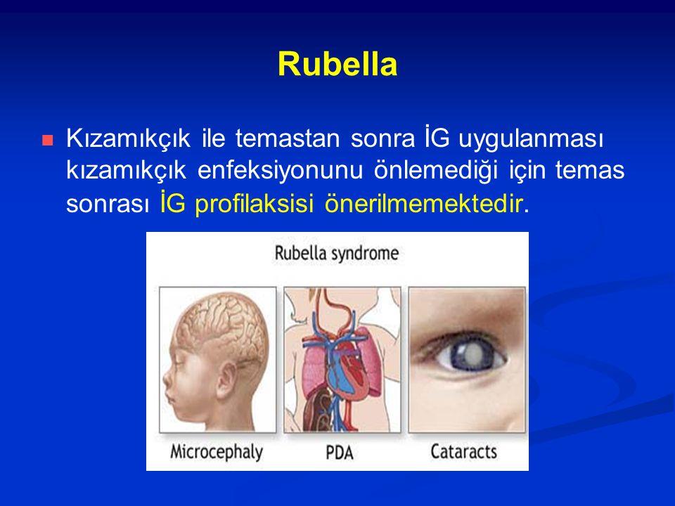 Rubella Kızamıkçık ile temastan sonra İG uygulanması kızamıkçık enfeksiyonunu önlemediği için temas sonrası İG profilaksisi önerilmemektedir.