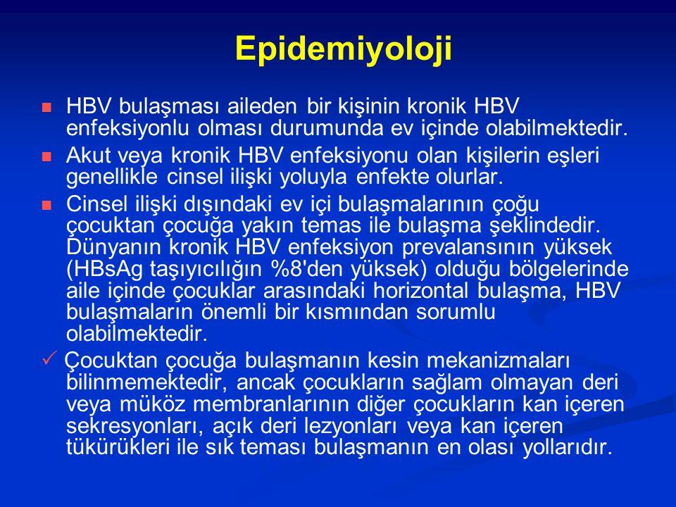 Epidemiyoloji HBV bulaşması aileden bir kişinin kronik HBV enfeksiyonlu olması durumunda ev içinde olabilmektedir.