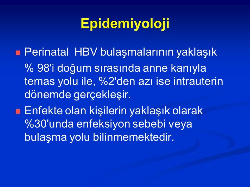 Epidemiyoloji Perinatal HBV bulaşmalarının yaklaşık % 98 i doğum sırasında anne kanıyla temas yolu ile, %2 den azı ise intrauterin dönemde gerçekleşir.