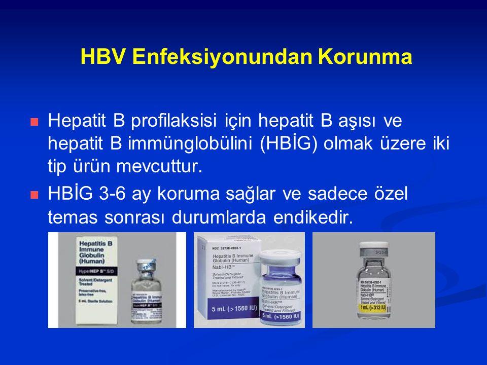 HBV Enfeksiyonundan Korunma Hepatit B profilaksisi için hepatit B aşısı ve hepatit B immünglobülini (HBİG) olmak üzere iki tip ürün mevcuttur.