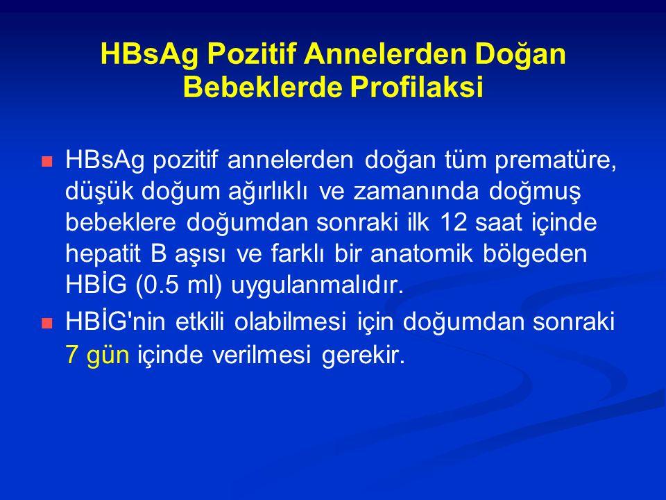 HBsAg Pozitif Annelerden Doğan Bebeklerde Profilaksi HBsAg pozitif annelerden doğan tüm prematüre, düşük doğum ağırlıklı ve zamanında doğmuş bebeklere doğumdan sonraki ilk 12 saat içinde hepatit B aşısı ve farklı bir anatomik bölgeden HBİG (0.5 ml) uygulanmalıdır.