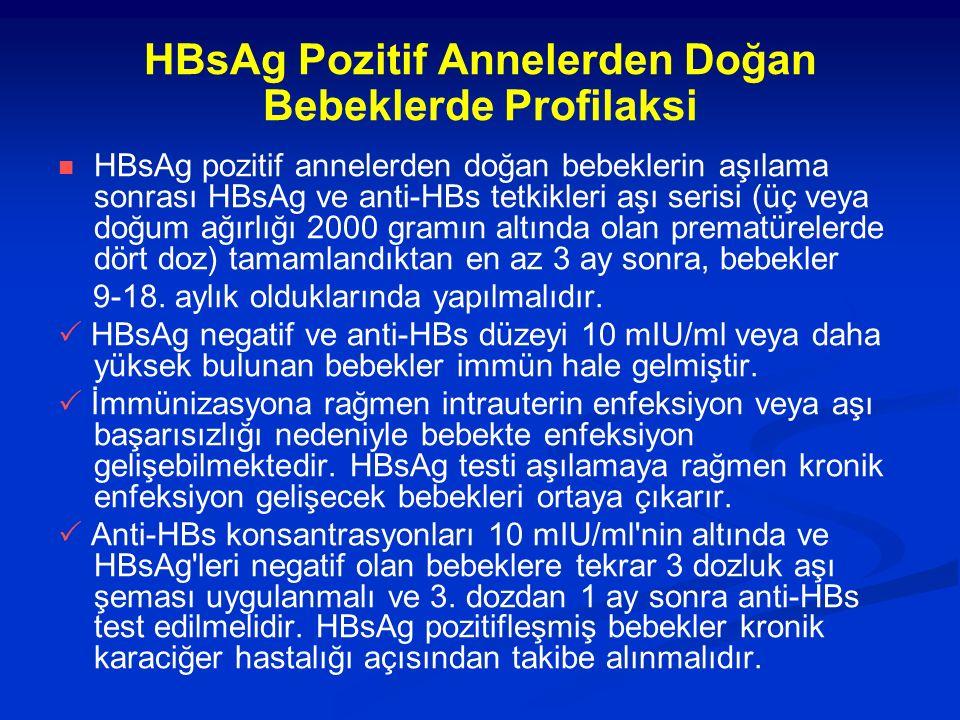 HBsAg Pozitif Annelerden Doğan Bebeklerde Profilaksi HBsAg pozitif annelerden doğan bebeklerin aşılama sonrası HBsAg ve anti-HBs tetkikleri aşı serisi (üç veya doğum ağırlığı 2000 gramın altında olan prematürelerde dört doz) tamamlandıktan en az 3 ay sonra, bebekler 9-18.