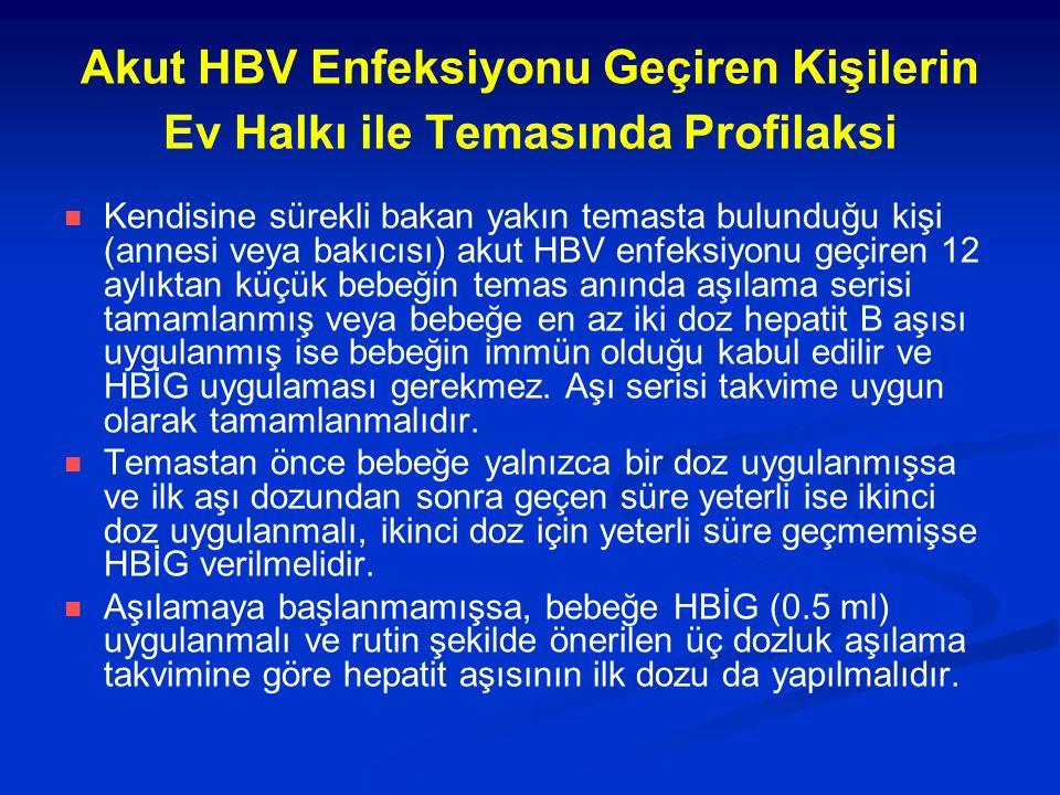 Akut HBV Enfeksiyonu Geçiren Kişilerin Ev Halkı ile Temasında Profilaksi Kendisine sürekli bakan yakın temasta bulunduğu kişi (annesi veya bakıcısı) akut HBV enfeksiyonu geçiren 12 aylıktan küçük bebeğin temas anında aşılama serisi tamamlanmış veya bebeğe en az iki doz hepatit B aşısı uygulanmış ise bebeğin immün olduğu kabul edilir ve HBİG uygulaması gerekmez.