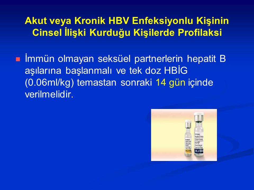 Akut veya Kronik HBV Enfeksiyonlu Kişinin Cinsel İlişki Kurduğu Kişilerde Profilaksi İmmün olmayan seksüel partnerlerin hepatit B aşılarına başlanmalı ve tek doz HBİG (0.06ml/kg) temastan sonraki 14 gün içinde verilmelidir.