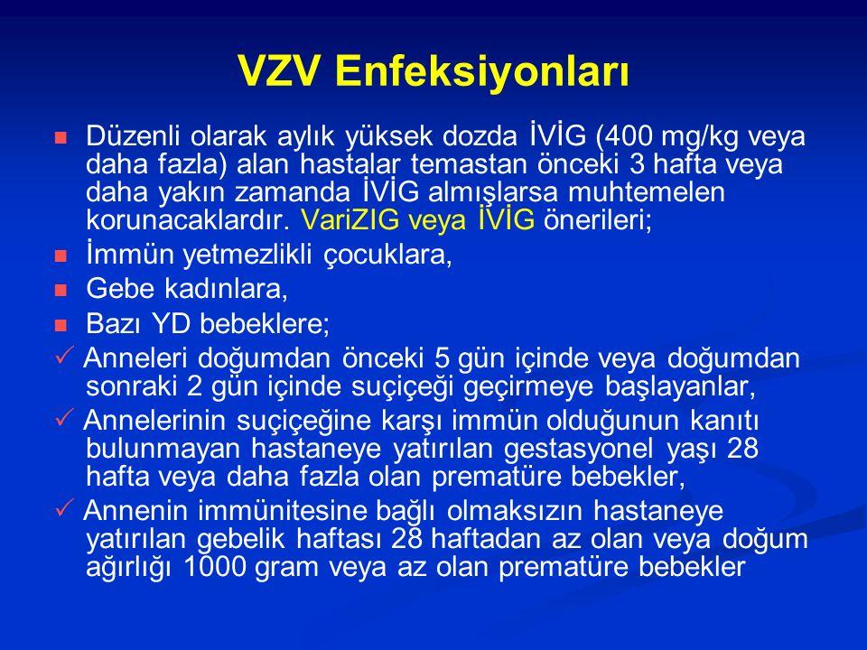 VZV Enfeksiyonları Düzenli olarak aylık yüksek dozda İVİG (400 mg/kg veya daha fazla) alan hastalar temastan önceki 3 hafta veya daha yakın zamanda İVİG almışlarsa muhtemelen korunacaklardır.