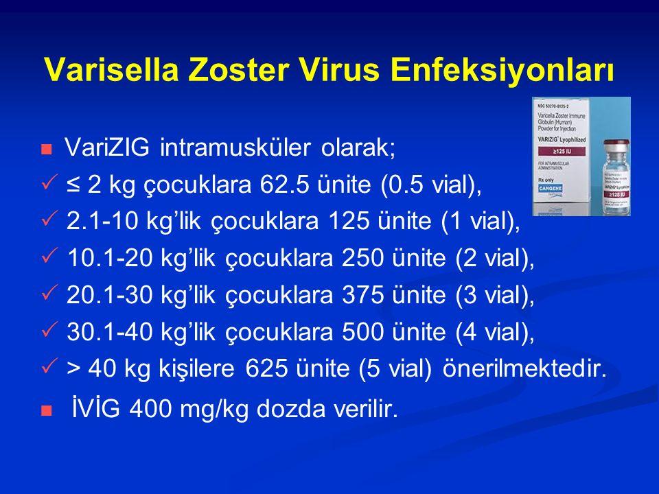 Varisella Zoster Virus Enfeksiyonları VariZIG intramusküler olarak;  ≤ 2 kg çocuklara 62.5 ünite (0.5 vial),  2.1-10 kg'lik çocuklara 125 ünite (1 vial),  10.1-20 kg'lik çocuklara 250 ünite (2 vial),  20.1-30 kg'lik çocuklara 375 ünite (3 vial),  30.1-40 kg'lik çocuklara 500 ünite (4 vial),  > 40 kg kişilere 625 ünite (5 vial) önerilmektedir.