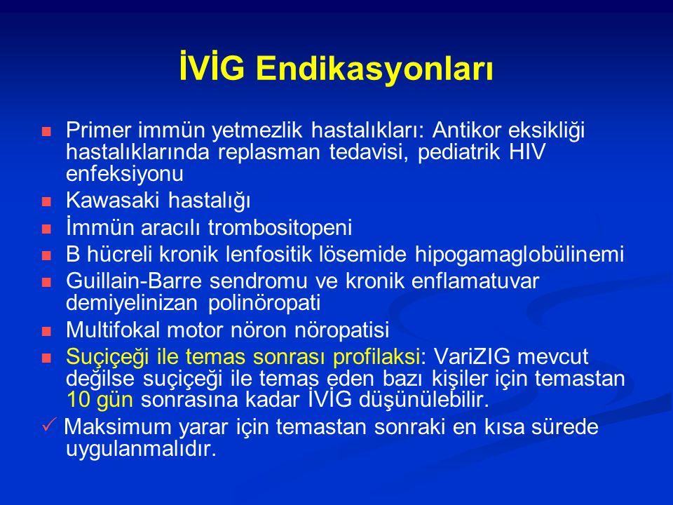 İVİG Endikasyonları Primer immün yetmezlik hastalıkları: Antikor eksikliği hastalıklarında replasman tedavisi, pediatrik HIV enfeksiyonu Kawasaki hastalığı İmmün aracılı trombositopeni B hücreli kronik lenfositik lösemide hipogamaglobülinemi Guillain-Barre sendromu ve kronik enflamatuvar demiyelinizan polinöropati Multifokal motor nöron nöropatisi Suçiçeği ile temas sonrası profilaksi: VariZIG mevcut değilse suçiçeği ile temas eden bazı kişiler için temastan 10 gün sonrasına kadar İVİG düşünülebilir.