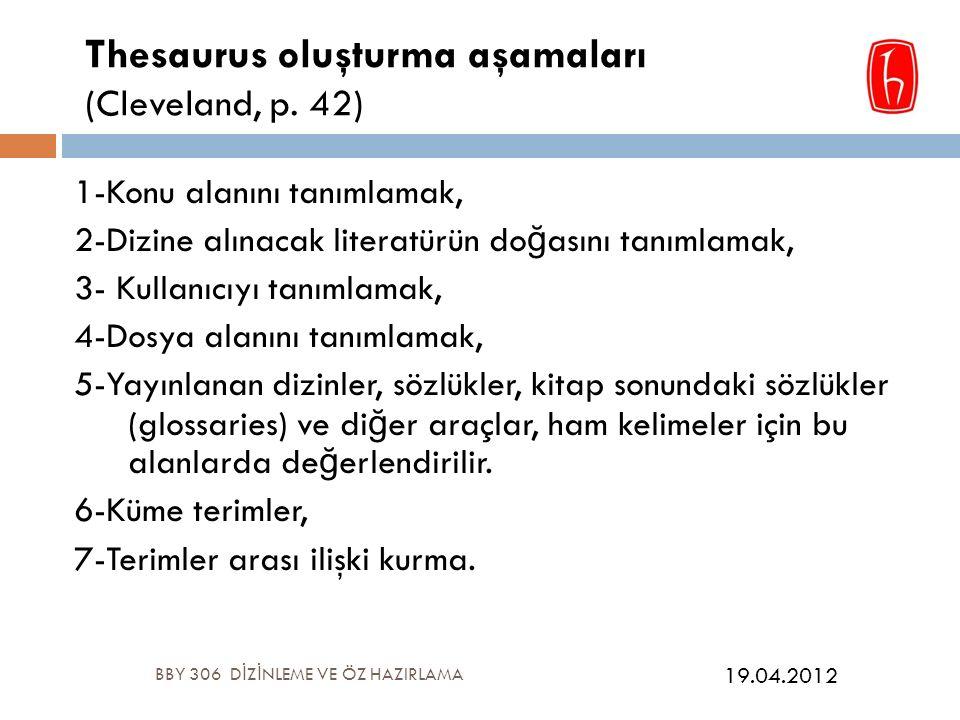 Thesaurus oluşturma aşamaları (Cleveland, p.