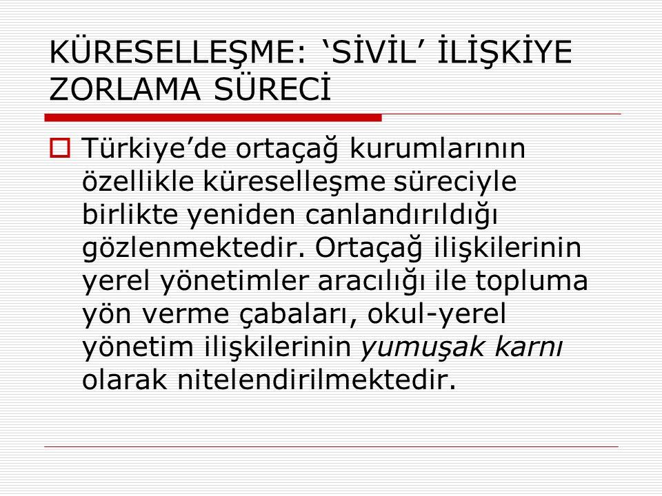 KÜRESELLEŞME: 'SİVİL' İLİŞKİYE ZORLAMA SÜRECİ  Türkiye'de ortaçağ kurumlarının özellikle küreselleşme süreciyle birlikte yeniden canlandırıldığı gözlenmektedir.