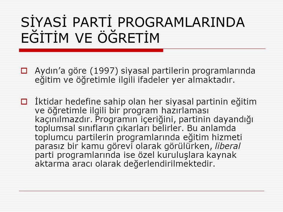 SİYASİ PARTİ PROGRAMLARINDA EĞİTİM VE ÖĞRETİM  Aydın'a göre (1997) siyasal partilerin programlarında eğitim ve öğretimle ilgili ifadeler yer almaktadır.