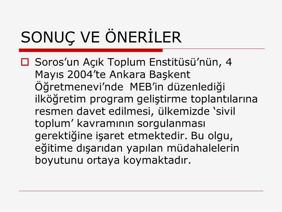 SONUÇ VE ÖNERİLER  Soros'un Açık Toplum Enstitüsü'nün, 4 Mayıs 2004'te Ankara Başkent Öğretmenevi'nde MEB'in düzenlediği ilköğretim program geliştirme toplantılarına resmen davet edilmesi, ülkemizde 'sivil toplum' kavramının sorgulanması gerektiğine işaret etmektedir.